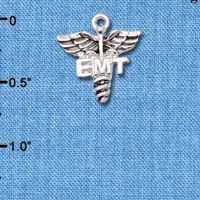 C6601 tlf - EMT Caduceus - Silver Plated Charm (6 per package)