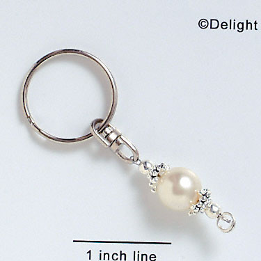 F5509 - Keychain with Glass Bead - Pearl (6 per package)