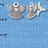 F1198 tlf - Mini Angel with Heart - Im. Rhodium Plated Post Earrings (3 Pair per package)