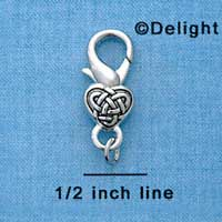 F1358 tlf - Celtic Heart - Im. Rhodium Plated Lobster Claw Clasp (6 per package)