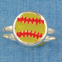 F1449 tlf - Enamel Softball - Size 7 - Silver Plated Ring (6 per package)
