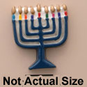 1738 ctlf - Medium Menorah with Colored Candles - Resin Decoration (12 per package)